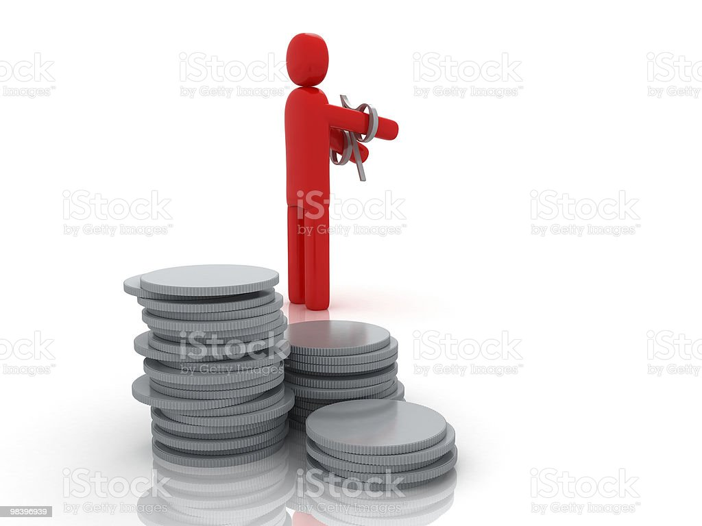 Moneyman in debito foto stock royalty-free