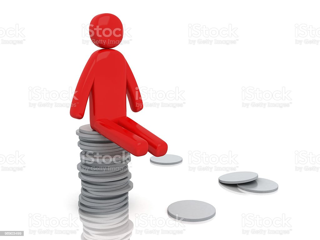 Moneyman with coins | Money-man Series royalty-free stock photo