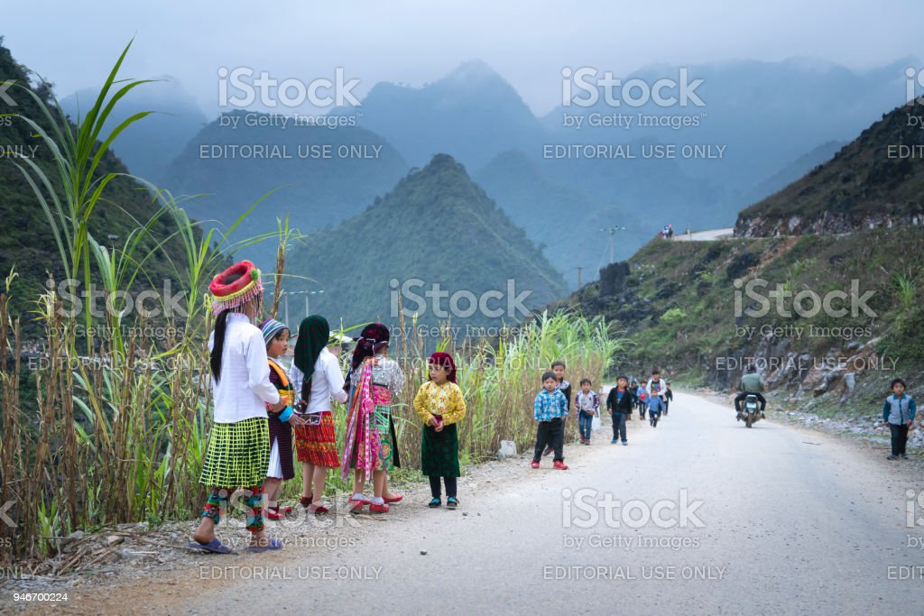 H'Mong ethnic minority children in the most beautiful clothes happy to welcome Lunar New Year stock photo