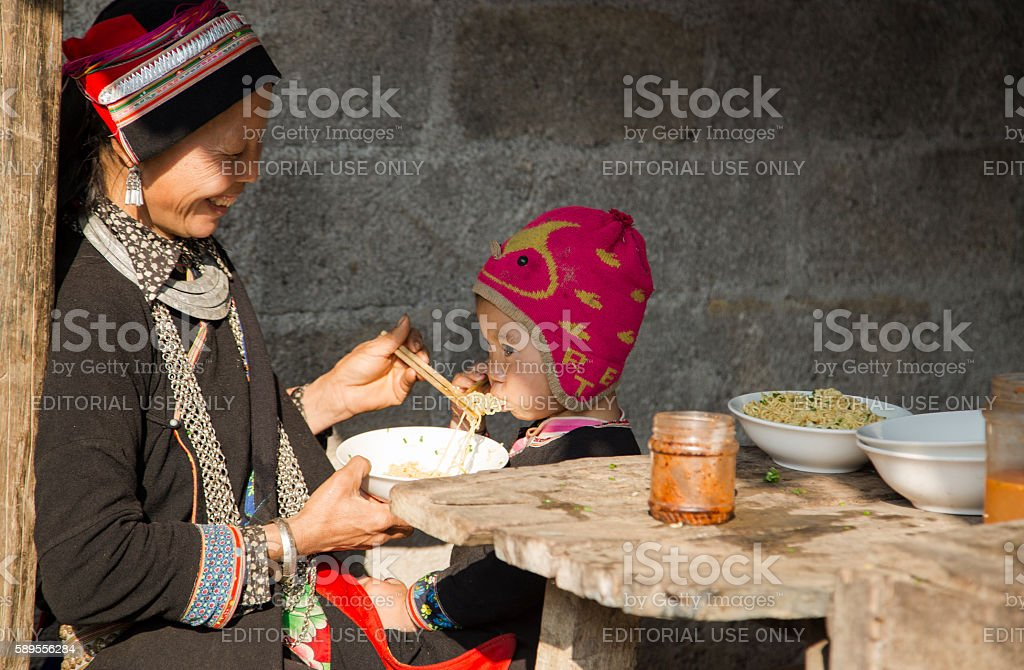 H'mong family stock photo