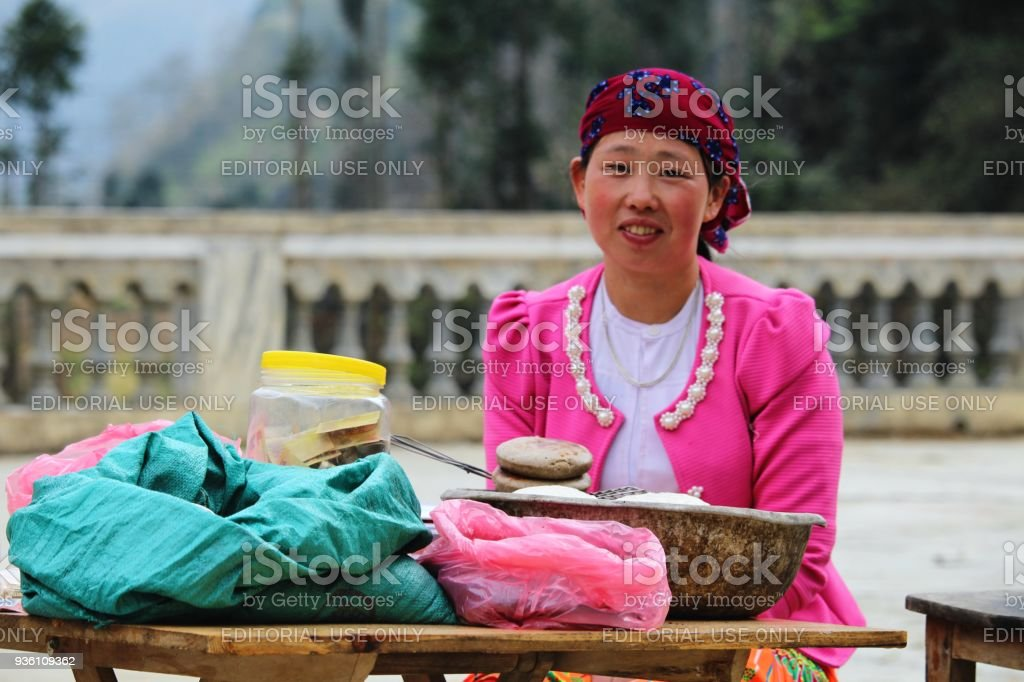 Mong minority local product seller stock photo