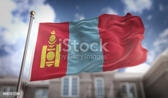 istock Mongolia Flag 3D Rendering on Blue Sky Building Background 669251258