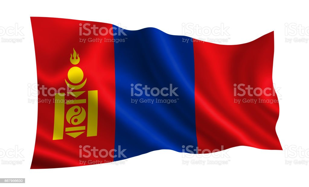 Mongolia flag. A series of 'Flags of the world.' (The country - Mongolia flag) stock photo