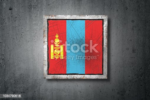 istock Mongolia flag in concrete wall 1034790518
