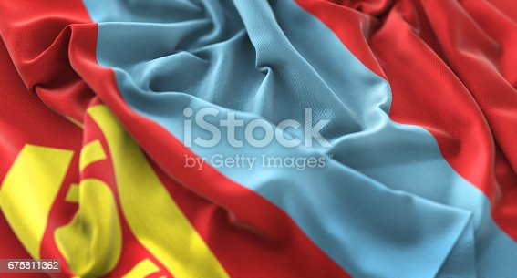 istock Mongolia Flag Ruffled Beautifully Waving Macro Close-Up Shot 675811362