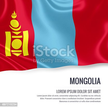 istock Mongolia flag. Silky flag of Mongolia waving on an isolated white background with the white text area for your advert message. 3D rendering. 697215234
