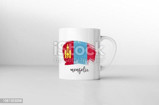 istock Mongolia flag souvenir mug on white background. 3D rendering. 1061353006