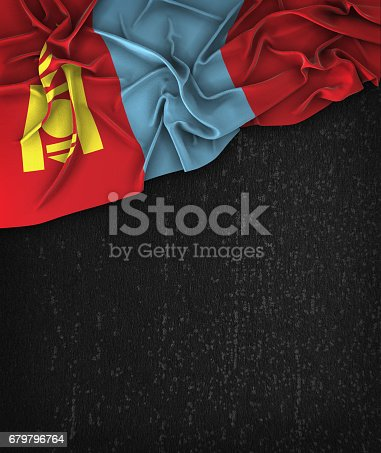istock Mongolia Flag Vintage on a Grunge Black Chalkboard With Space For Text 679796764