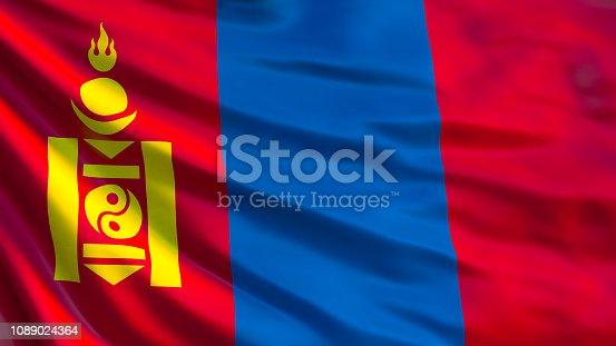 istock Mongolia flag. Waving flag of Mongolia 3d illustration. Ulaanbaatar 1089024364