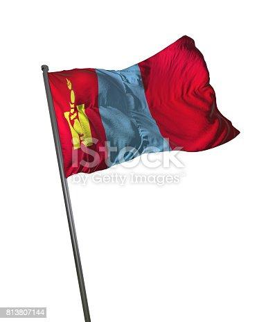 istock Mongolia Flag Waving Isolated on White Background Portrait 813807144