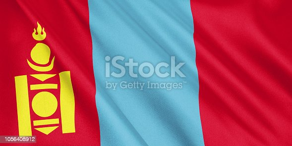 istock Mongolia flag waving with the wind, wide format, 3D illustration. 3D rendering. 1056408912