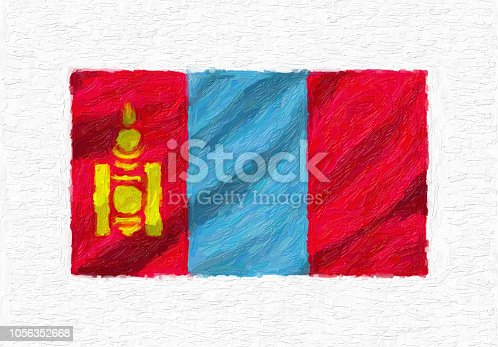istock Mongolia hand painted waving national flag, oil paint isolated on white canvas, 3D illustration. 1056352668