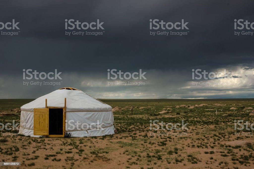 Mongolei-Landschaft mit Nomad traditionelle mongolische Jurte – Foto