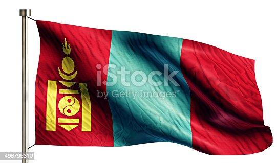 istock Mongolia National Flag Isolated 3D White Background 498795310