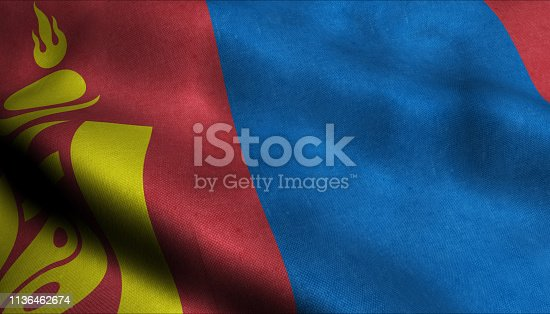 istock Mongolia Waving Flag in 3D 1136462674