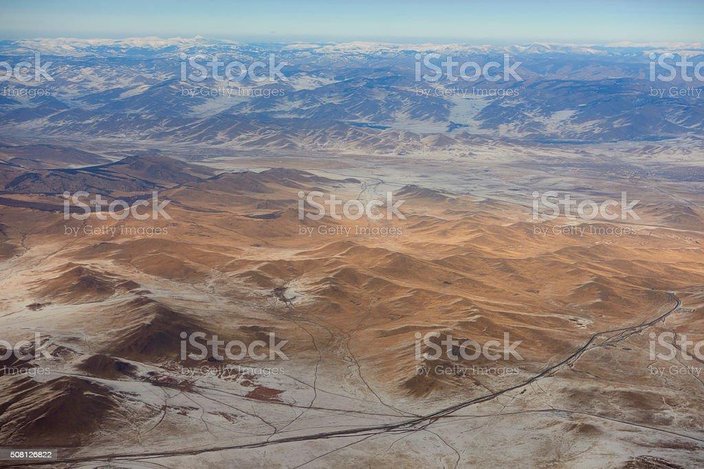 Mongolian Aerial View stock photo