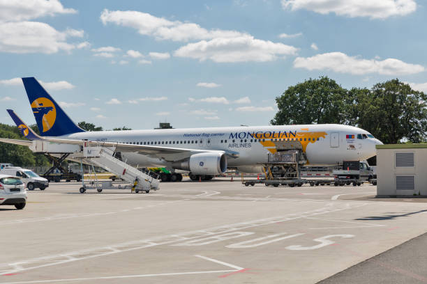 Mongolian Airlines Boeing 767 at Tegel airport in Berlin, Germany. stock photo