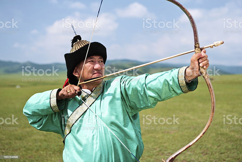 Mongolian archer royalty-free stock photo
