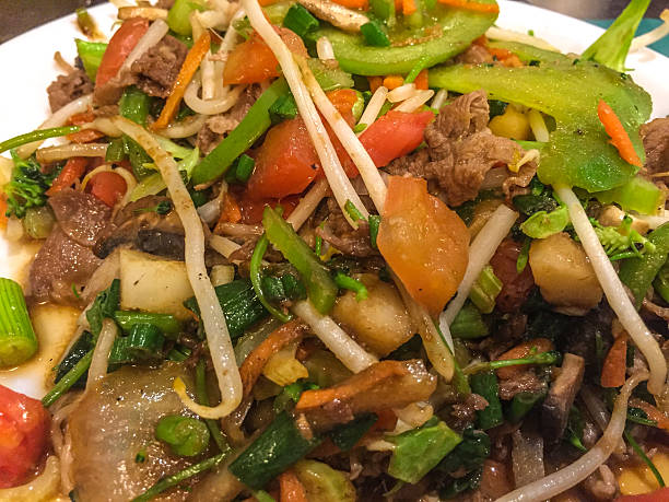 Mongolian BBQ Mongolian BBQ food in local buffet independent mongolia stock pictures, royalty-free photos & images