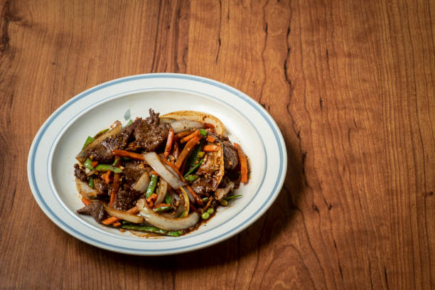 Mongolian Beef Chinese food Mongolian Beef Chinese food on a plate mongolian culture stock pictures, royalty-free photos & images