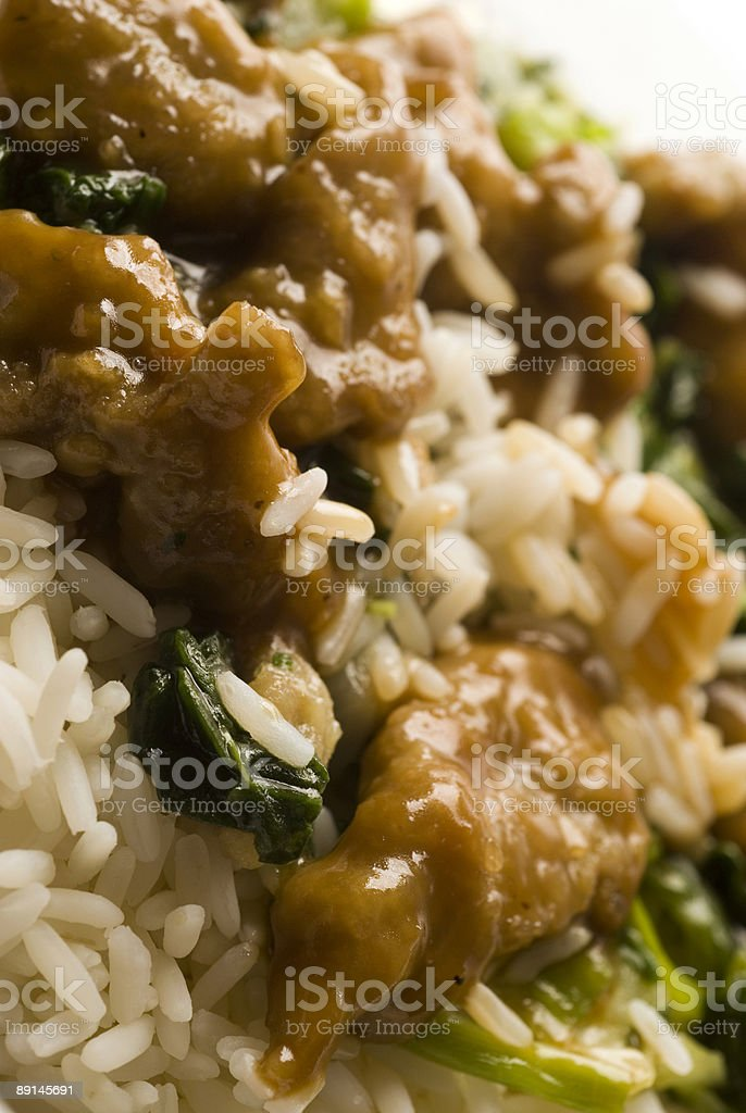 Mongolian beef with rice stock photo