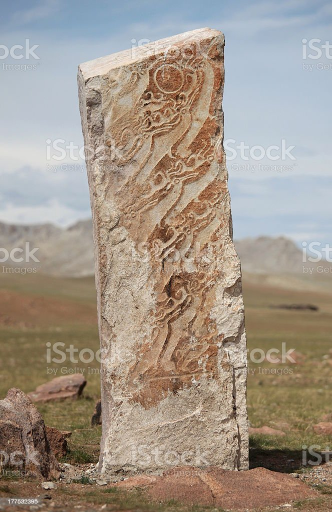 Mongolian Deer Stone royalty-free stock photo