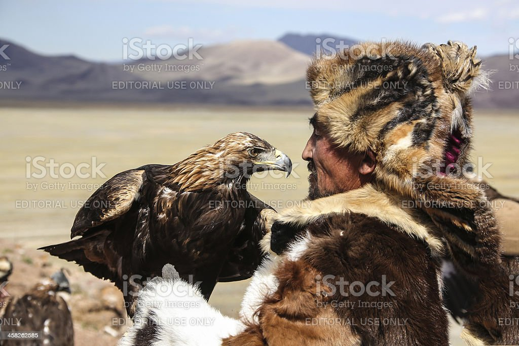 Mongolian eagle hunter stock photo