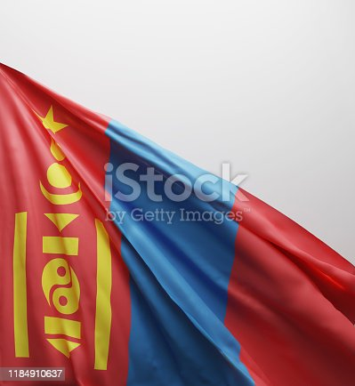 istock Mongolian Flag, Mongolia National Colors Background  <<3D Rendering>> 1184910637