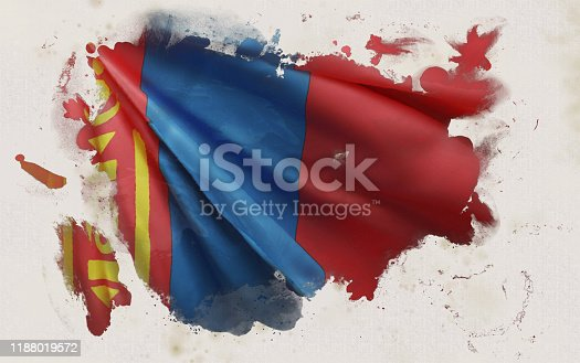 istock Mongolian Flag, Mongolia National Colors Background  <<3D Rendering>> 1188019572