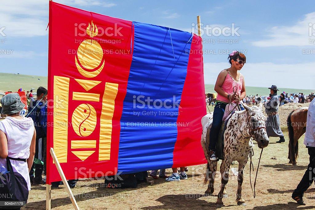 Mongolian flag, Nadaam horse race stock photo