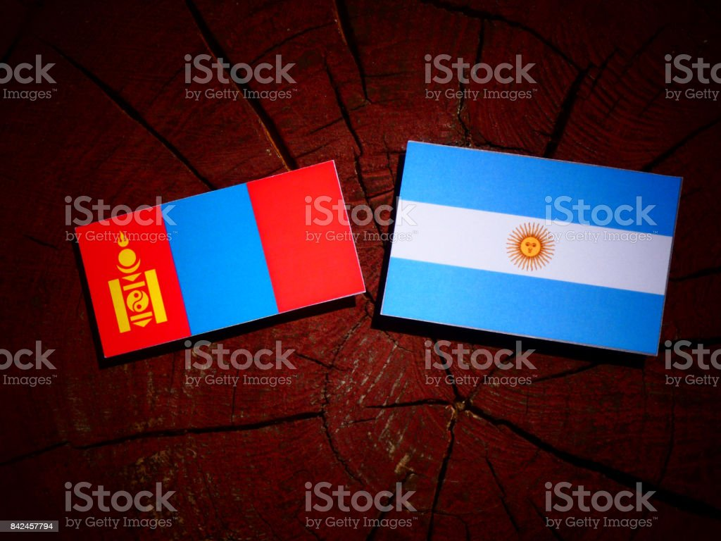 Mongolian flag with Argentinian flag on a tree stump isolated stock photo