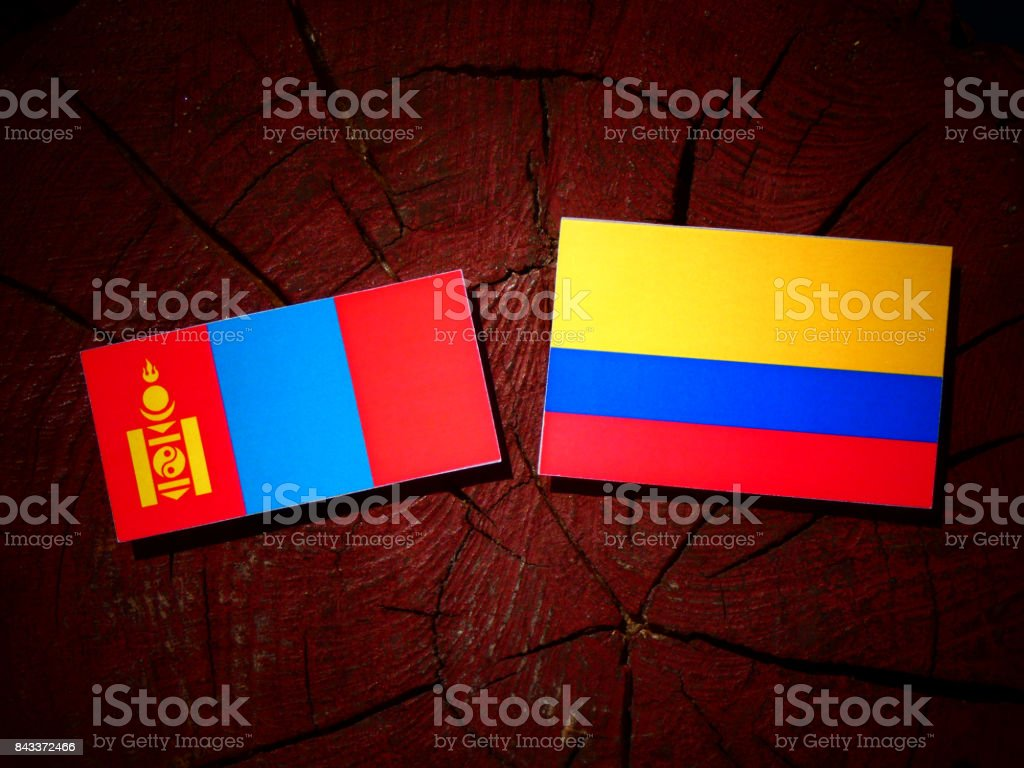 Mongolian flag with Colombian flag on a tree stump isolated stock photo