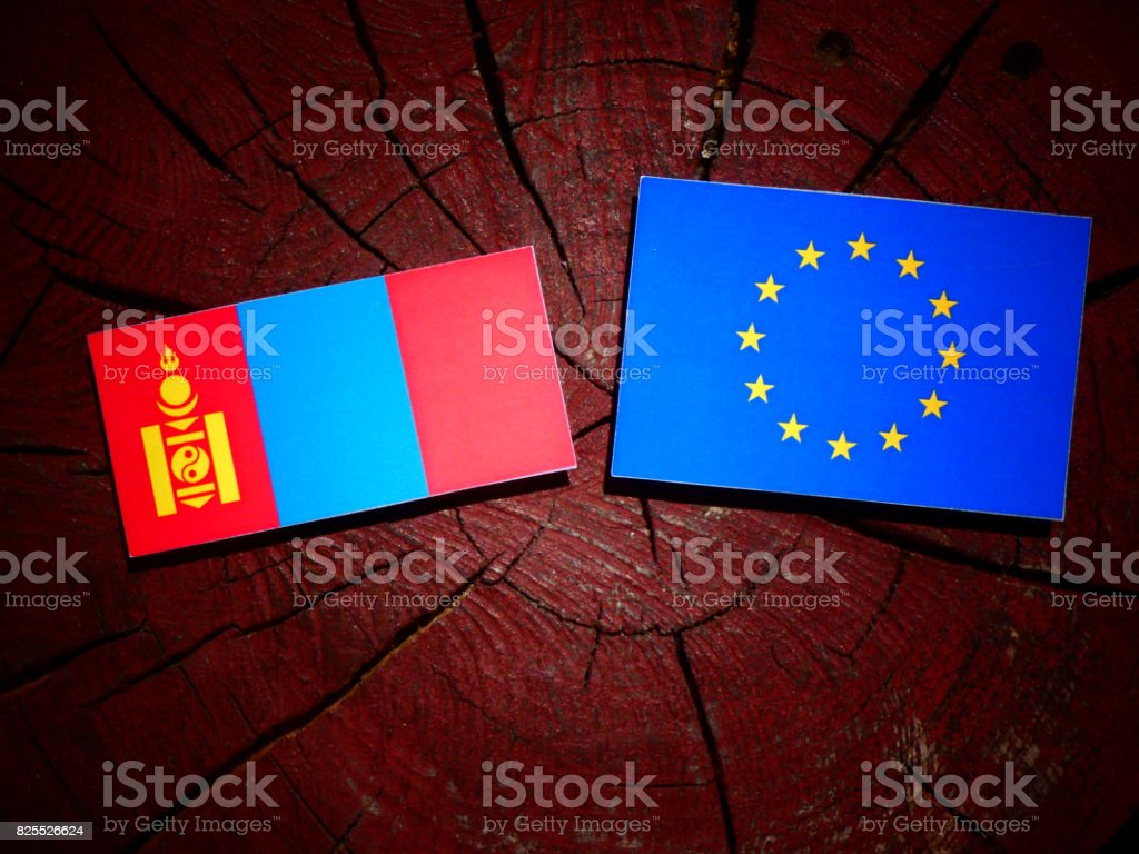 Mongolian flag with EU flag on a tree stump isolated stock photo