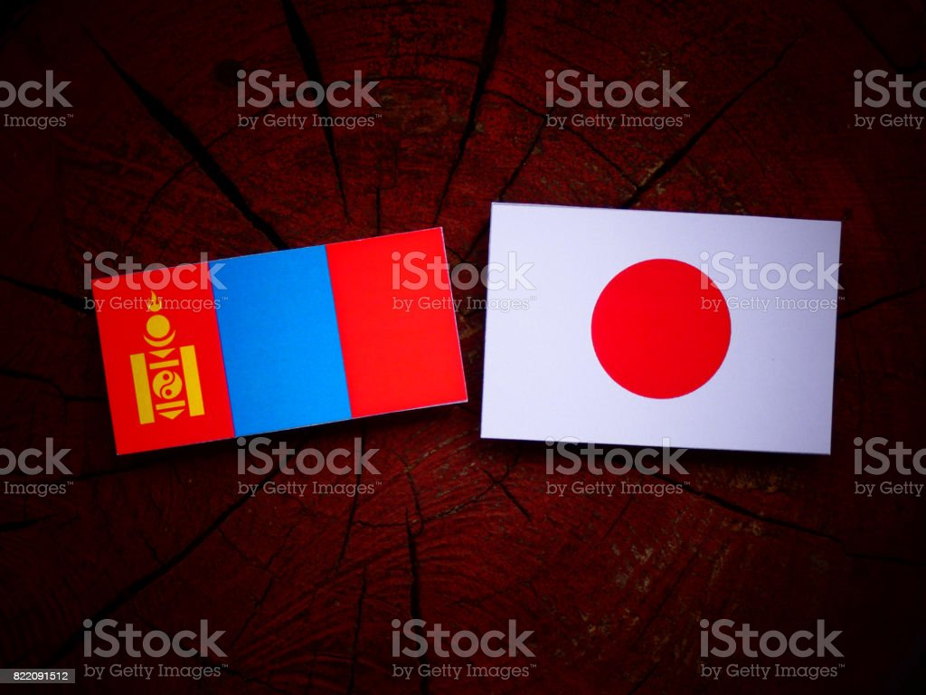 Mongolian flag with Japanese flag on a tree stump isolated stock photo
