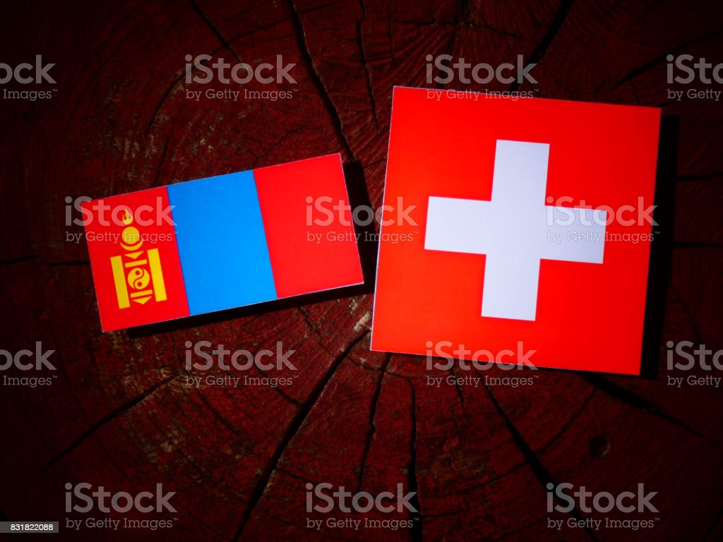 Mongolian flag with Swiss flag on a tree stump isolated stock photo