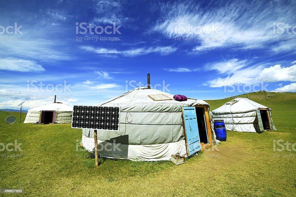 Mongolian ger camps with solar power stock photo