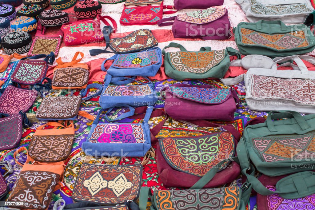 Mongolian handicrafts selling on the street market. stock photo