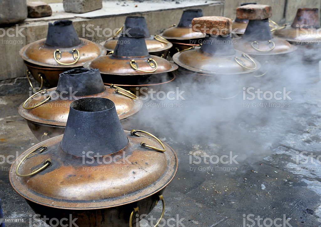 Mongolian hot pots stock photo