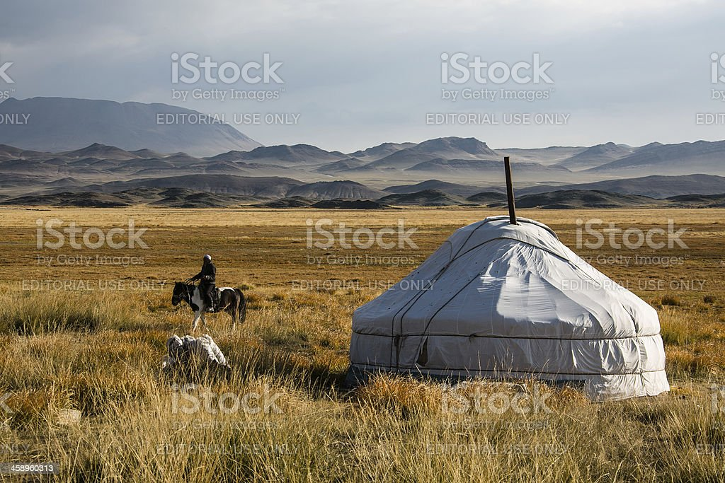 Mongolian jurt with horseman in the Altai area stock photo