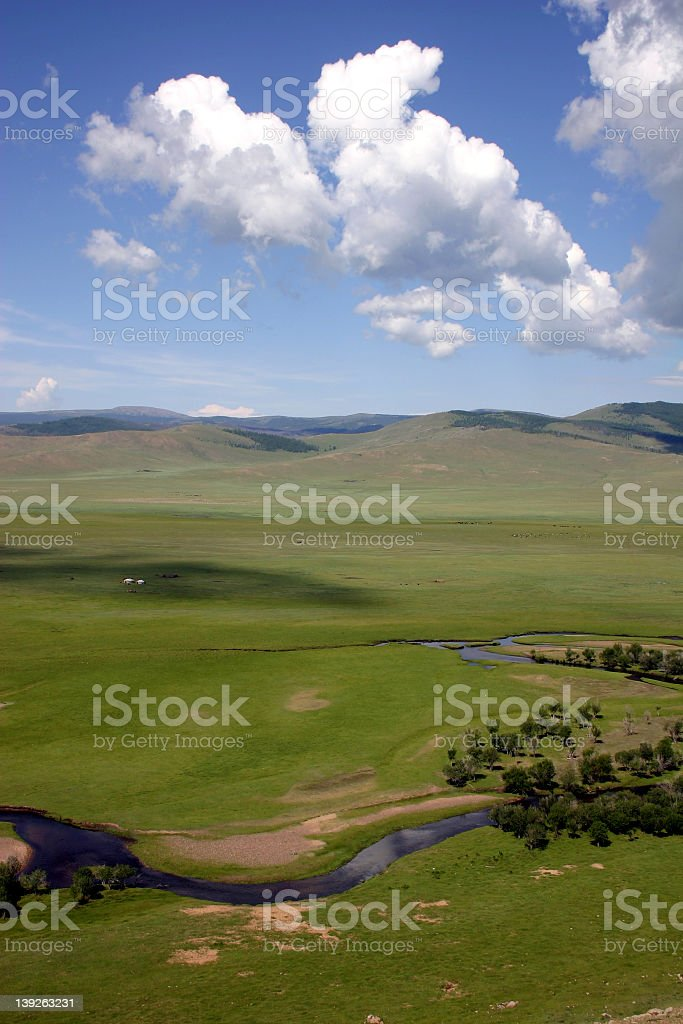 Mongolian landscape seen from a high vantage point stock photo