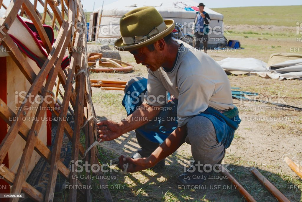Mongolian man assembles yurt in steppe, circa Harhorin, Mongolia. stock photo