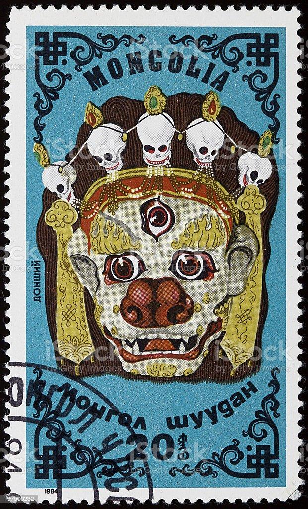 Mongolian mask stamp royalty-free stock photo