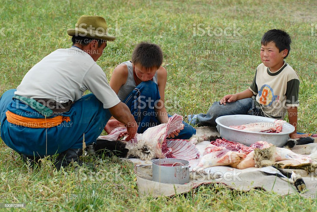 Mongolian men cut mutton meat, Harhorin, Mongolia. stock photo