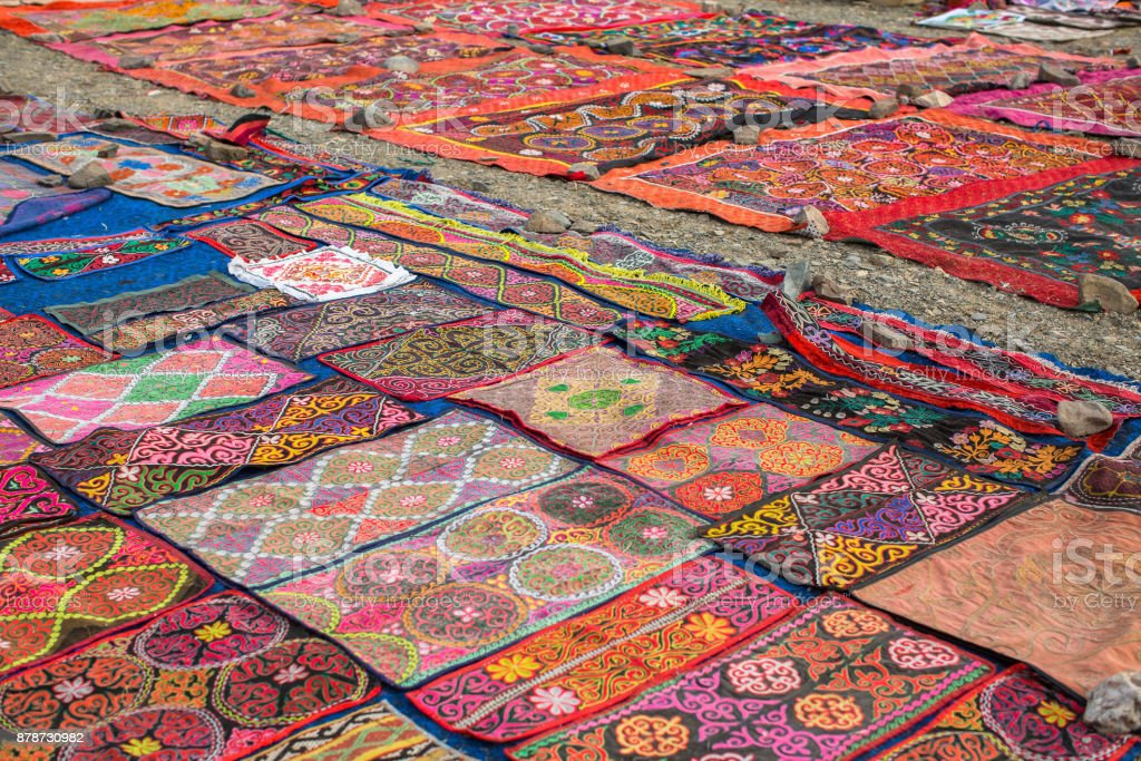 Mongolian rugs selling on the street market. stock photo