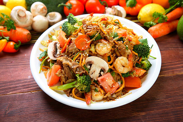 Mongolian Shrimp & Beef  mongolian culture stock pictures, royalty-free photos & images