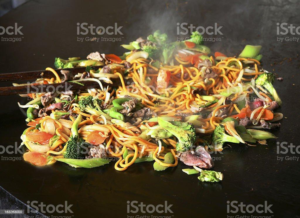 Mongolian Shrimp & Beef stock photo