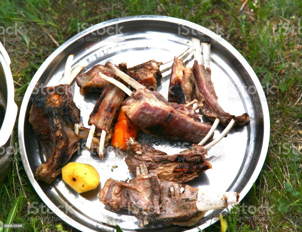 Mongolian traditional food  in Gorkhi-Terelj National Park at Ulaanbaatar , Mongolia stock photo