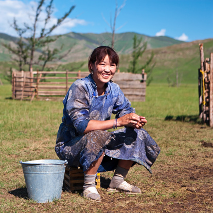 Mongolian woman in national clothing milking a yak, Central Mongolia.http://bem.2be.pl/IS/mongolia_380.jpg