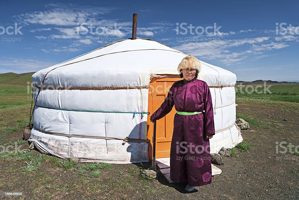 Mongolian woman in national clothing royalty-free stock photo