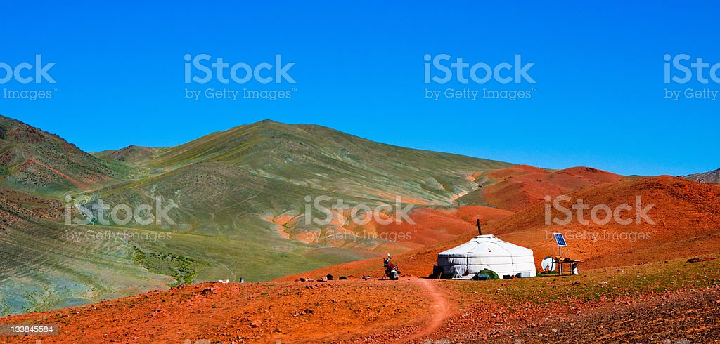 Mongolian yurt in the mountains stock photo